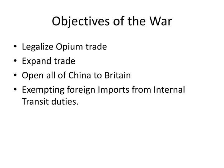 Objectives of the War