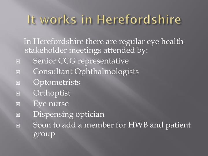 It works in Herefordshire