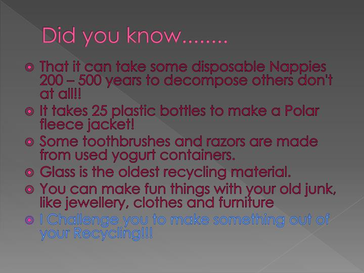 Did you know........