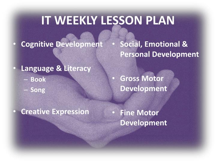 IT WEEKLY LESSON PLAN