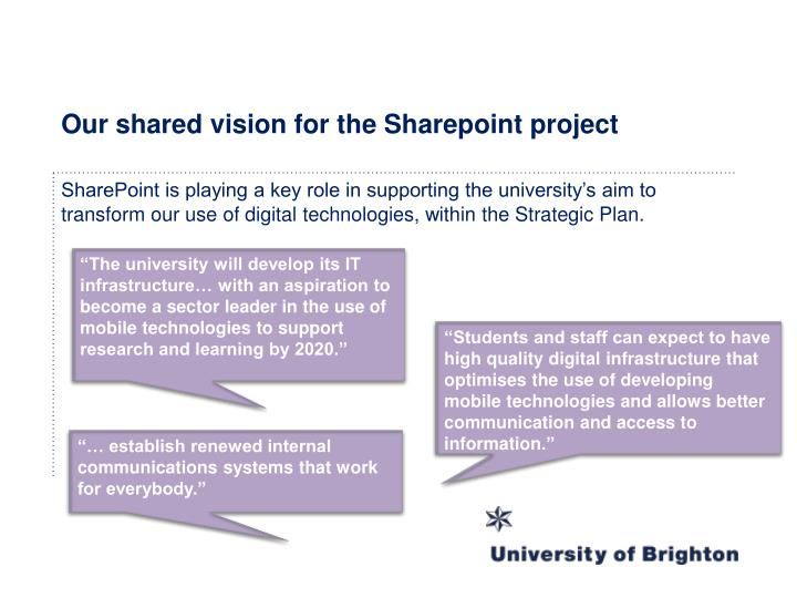 Our shared vision for the Sharepoint project