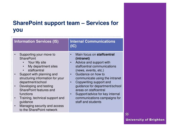 SharePoint support team – Services for you