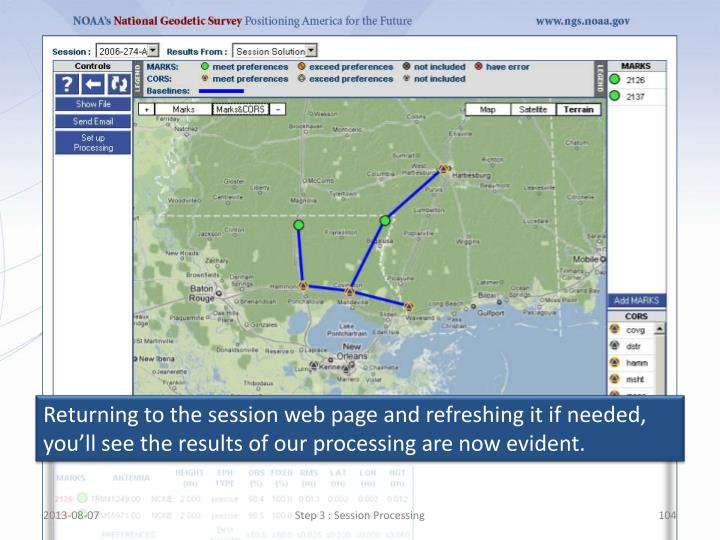 Returning to the session web page and refreshing it if needed, you'll see the results of our processing are now evident.