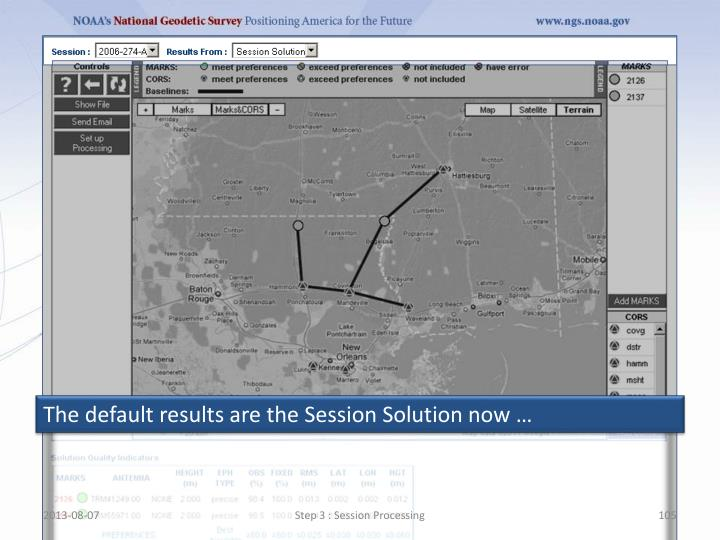 The default results are the Session Solution now …