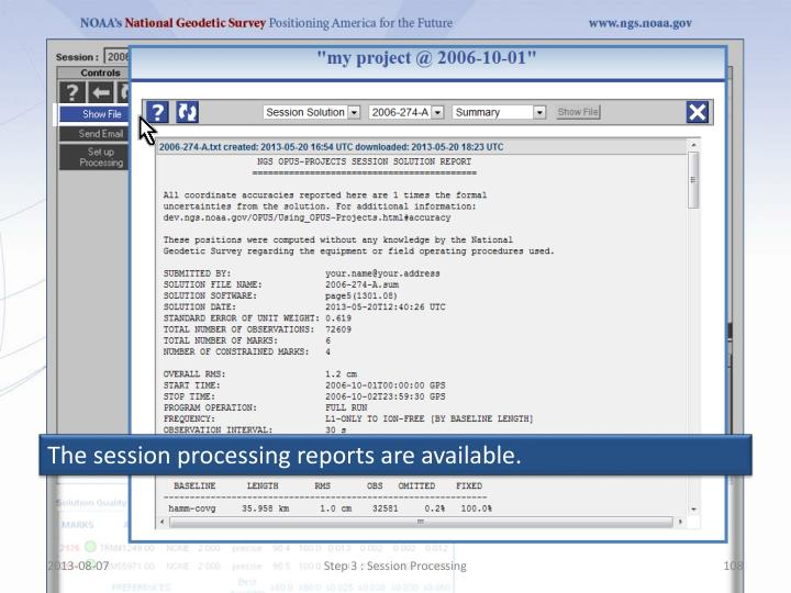 The session processing reports are available.