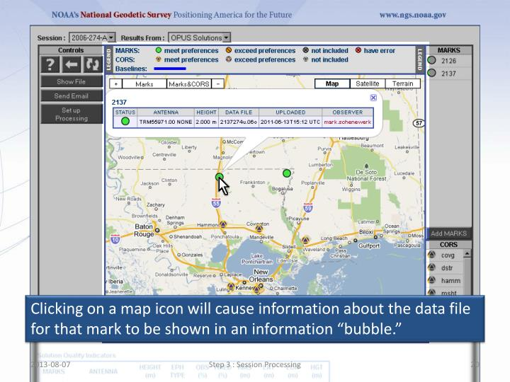"""Clicking on a map icon will cause information about the data file for that mark to be shown in an information """"bubble."""""""