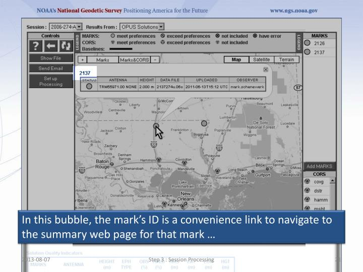 In this bubble, the mark's ID is a convenience link to navigate to the summary web page for that mark …