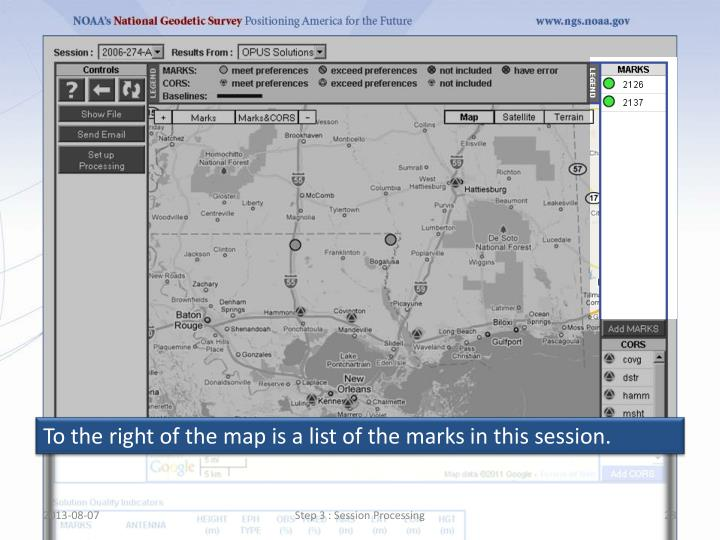 To the right of the map is a list of the marks in this session.