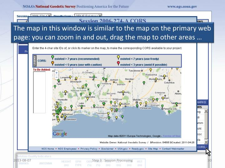 The map in this window is similar to the map on the primary web page: you can zoom in and out, drag the map to other areas …