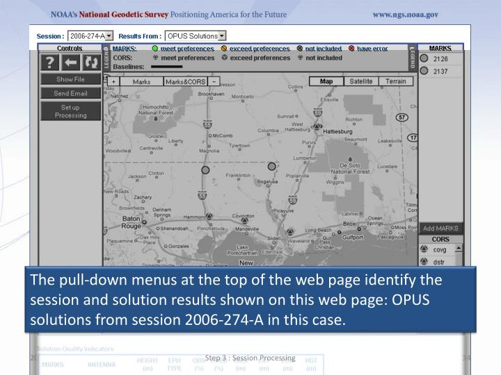 The pull-down menus at the top of the web page identify the session and solution results shown on this web page: OPUS solutions from session 2006‐274‐A in this case