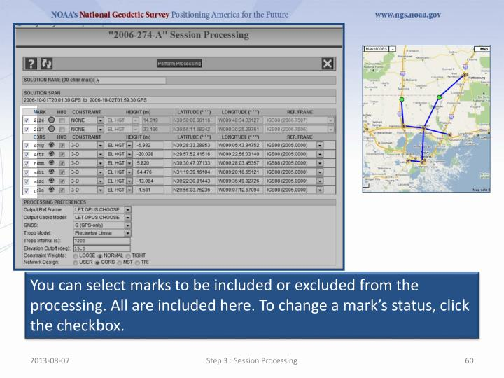You can select marks to be included or excluded from the processing. All are included here. To change a mark's status, click the checkbox.