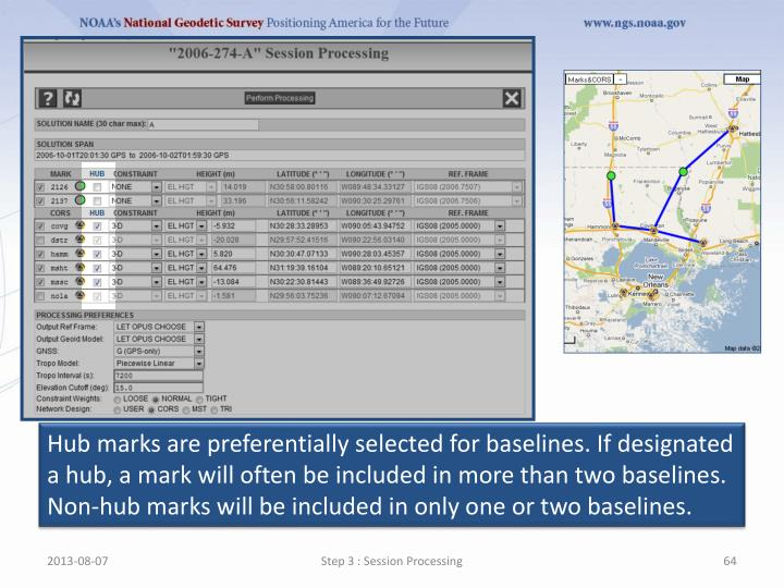 Hub marks are preferentially selected for baselines. If designated a hub, a mark will often be included in more than two baselines. Non-hub marks will be included in only one or two baselines.