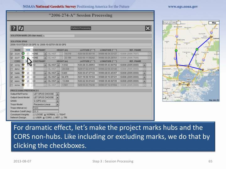 For dramatic effect, let's make the project marks hubs and the CORS non-hubs. Like including or excluding marks, we do that by clicking the checkboxes.