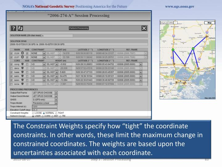 """The Constraint Weights specify how """"tight"""" the coordinate constraints. In other words, these limit the maximum change in constrained"""