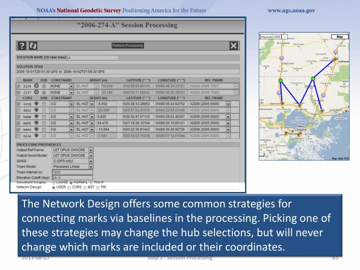 The Network Design offers some common strategies for connecting marks via baselines in the processing. Picking one of these strategies may change the hub selections, but will never change which marks are included or their coordinates.