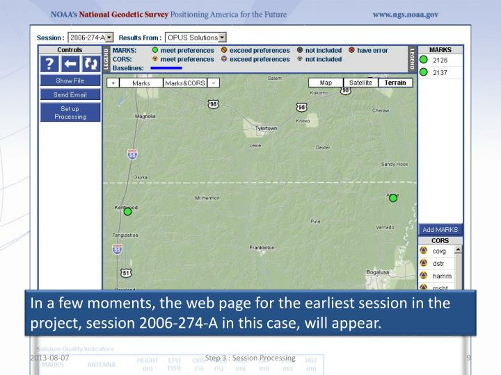 In a few moments, the web page for the earliest session in the project, session 2006-274-A in this case, will appear.