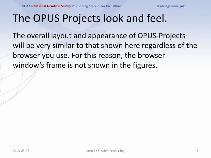 The OPUS Projects look and feel.