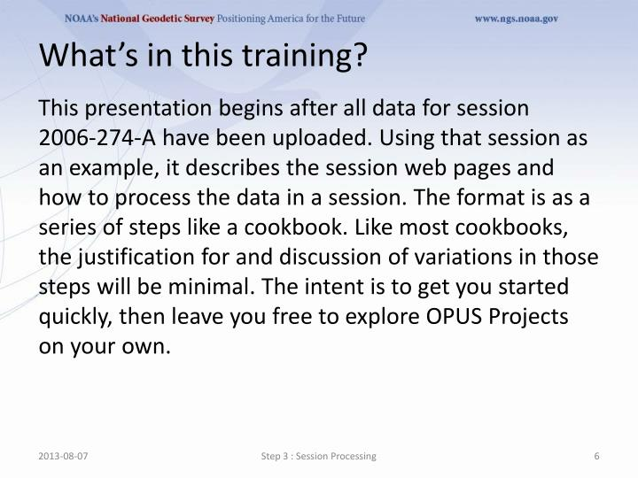 What's in this training?