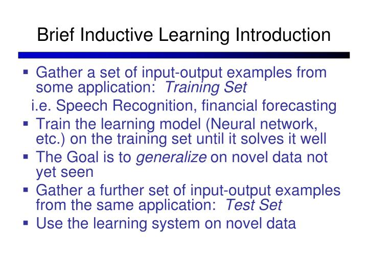 Brief Inductive Learning Introduction