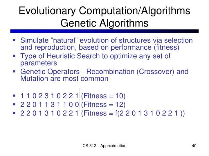 Evolutionary Computation/Algorithms