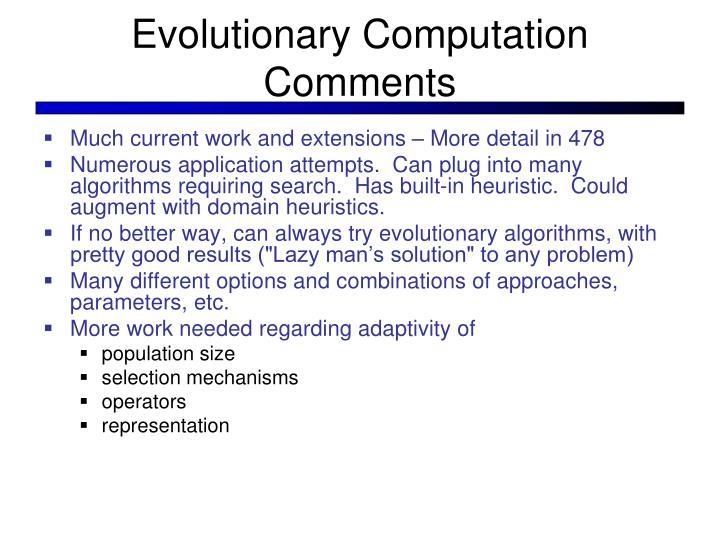 Evolutionary Computation Comments