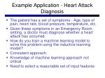 example application heart attack diagnosis