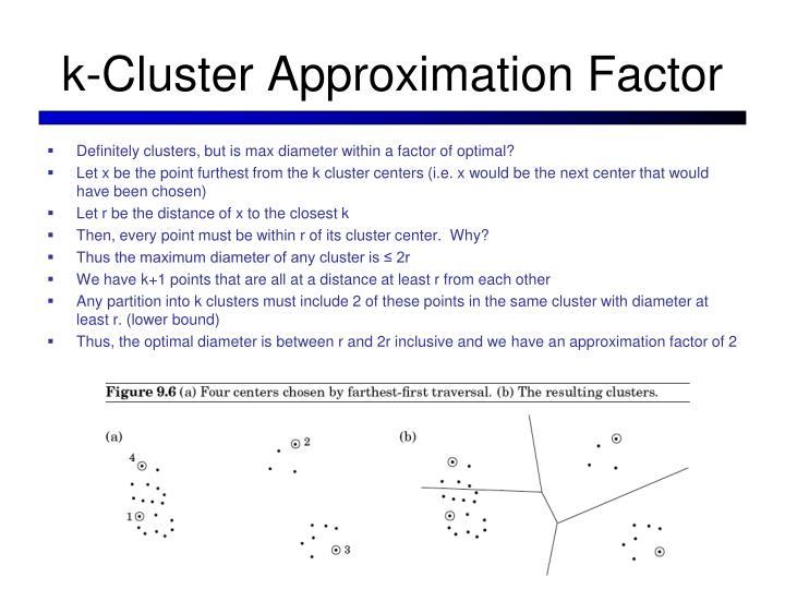 k-Cluster Approximation Factor