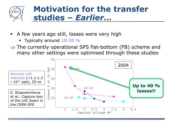 Motivation for the transfer studies –