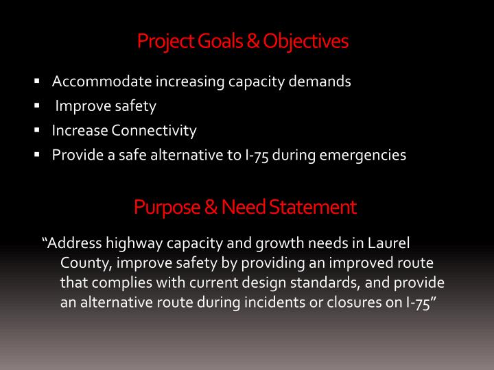 Project Goals & Objectives