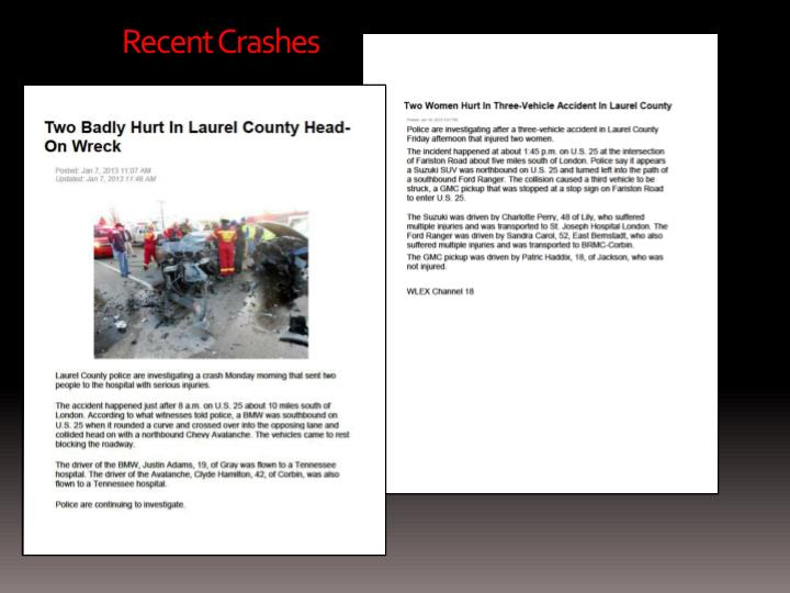 Recent Crashes