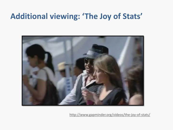 Additional viewing: 'The Joy of Stats'