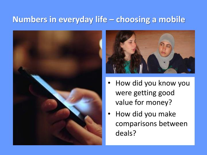 Numbers in everyday life – choosing a mobile