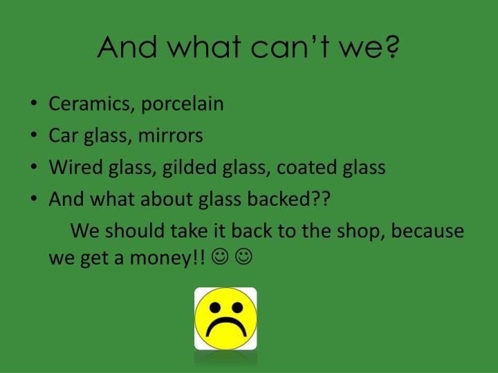 And what can't we?