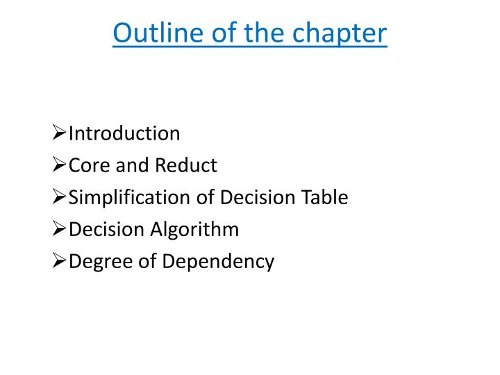 Outline of the chapter