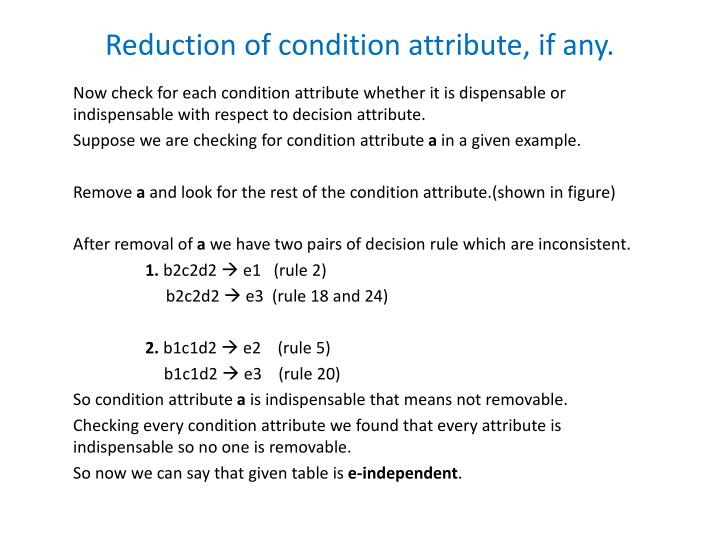 Reduction of condition attribute, if any.