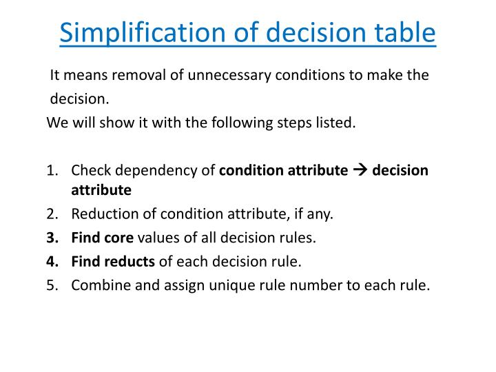 Simplification of decision table