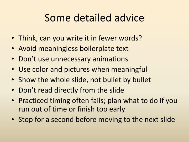 Some detailed advice