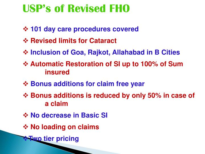 USP's of Revised FHO