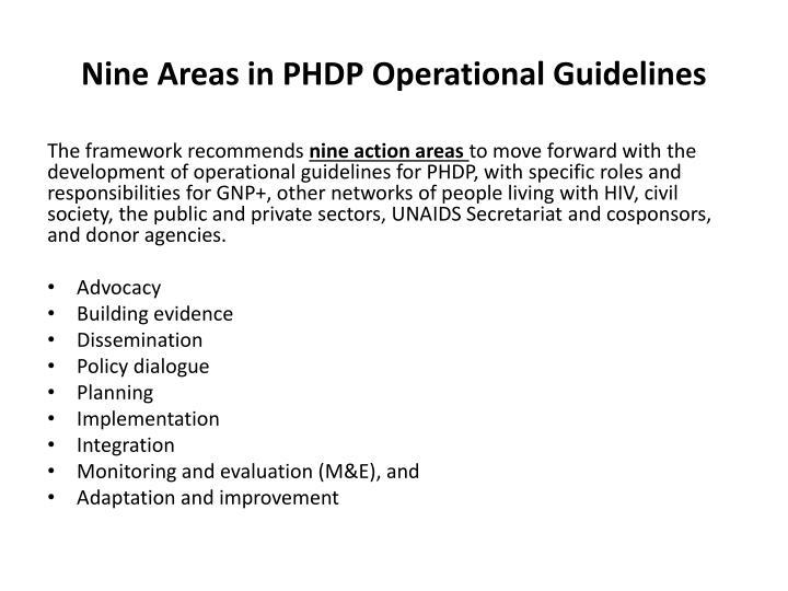 Nine Areas in PHDP Operational Guidelines