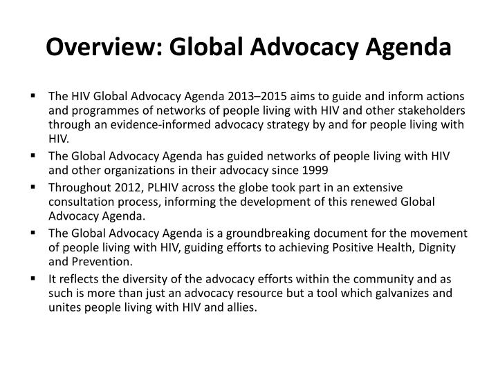 Overview: Global Advocacy Agenda