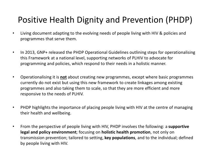 Positive Health Dignity and Prevention (PHDP)