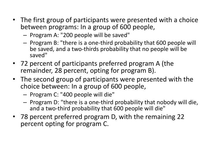 The first group of participants were presented with a choice between programs: In a group of 600 people,
