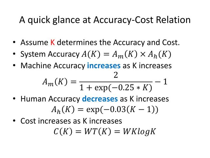 A quick glance at Accuracy-Cost