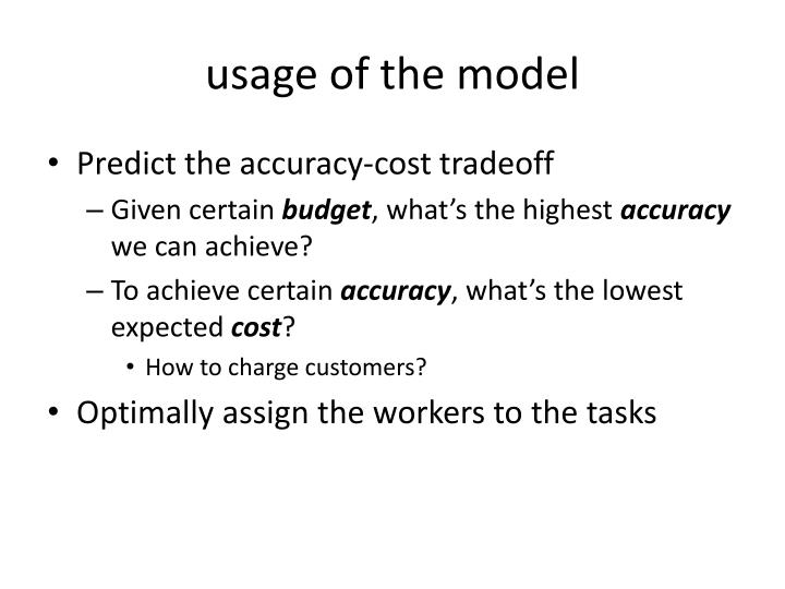 usage of the model