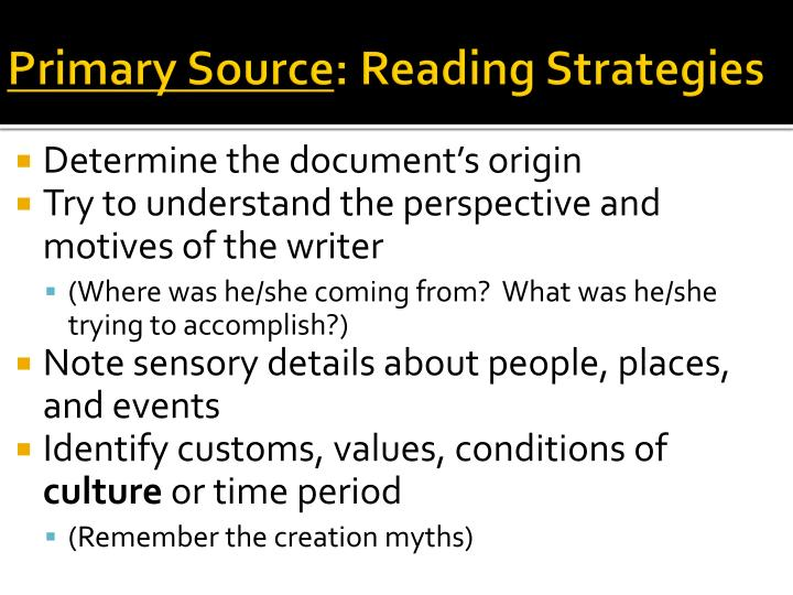 Primary source reading strategies