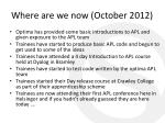 where are we now october 2012