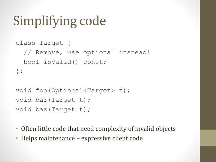 Simplifying code