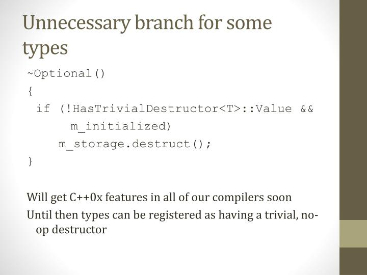 Unnecessary branch for some types