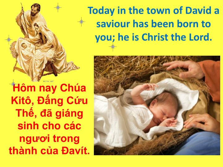 Today in the town of David a saviour has been born to you; he is Christ the Lord.
