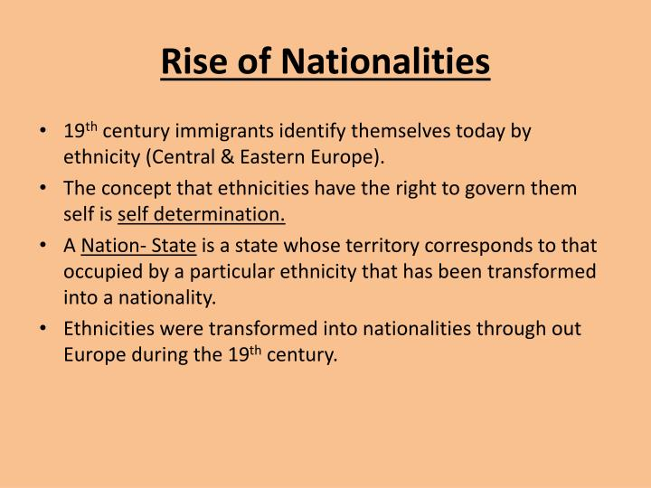 Rise of nationalities